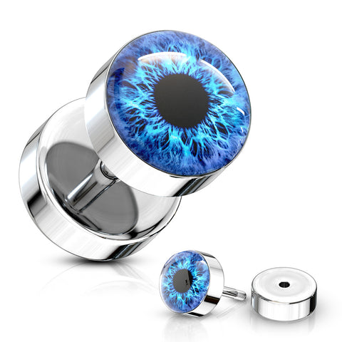 Eyeball Inlaid 316L Surgical Steel 16ga Faux Plugs