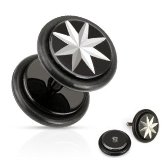Star Grooved Cut Fake Plug with O-Rings 316L Surgical Steel Black IP