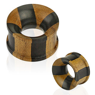 Jati & Areng Ebony Wood Concave Tunnel Cross Checker Double Flat Flared Organic Plug