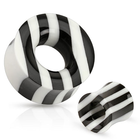 Black and White Striped Organic Horn and Bone Saddle Fit Tunnel