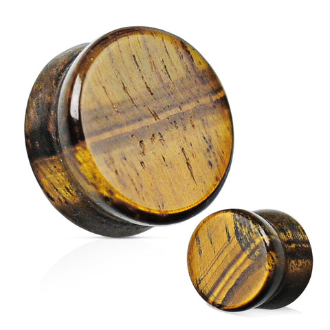 Tiger's Eye Semi Precious Stone Solid Saddle Fit Plug
