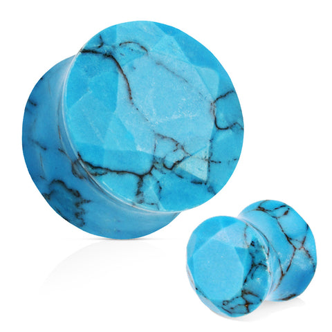 Blue Turquoise Semi Precious Stone Faceted Gem Cut Double Flared Plug