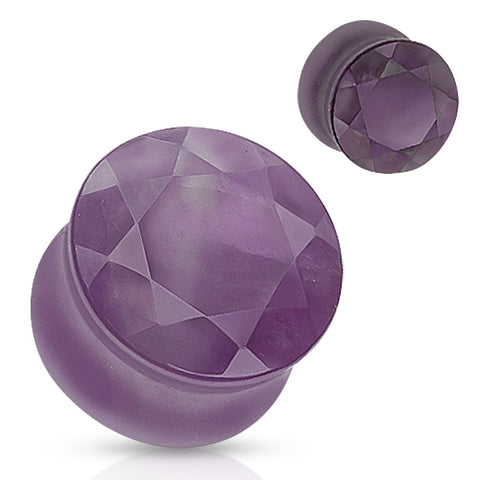 Amethyst Faceted Gem Cut Semi Precious Stone Double Flared Plug
