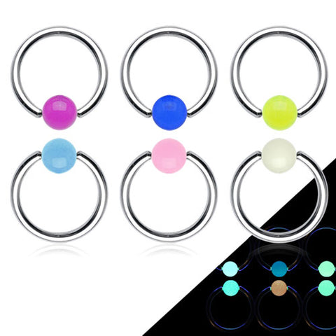 316L Surgical Steel Captive Bead Ring with Glow in the Dark Ball