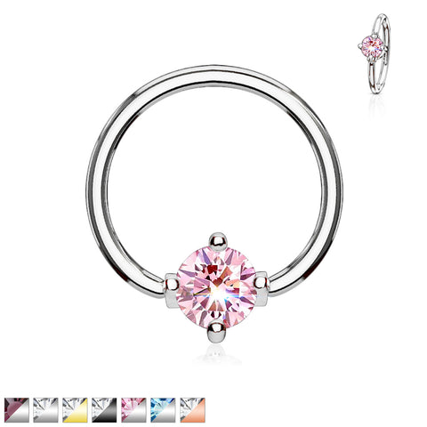 Prong Set Round CZ Captive Rings 316L Surgical Steel
