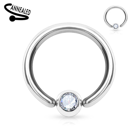 316L Surgical Steel Gem Set Fixed one End Ball Hoop Rings