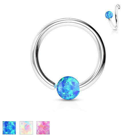 316L Surgical Steel Opal Ball Fixed On End Hoop Ring