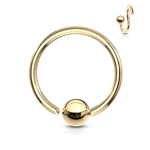 One Side Fixed Ball Ring IP Over 316L Surgical Steel For Ear Cartilage, Nose and More