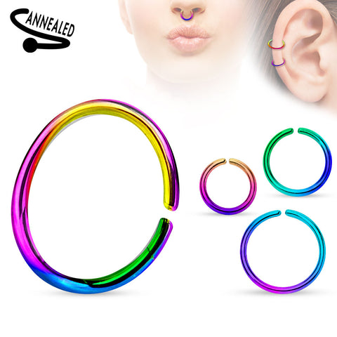 Titanium Anodized over 316L Surgical Steel Annealed and Rounded Ends Cut Rings
