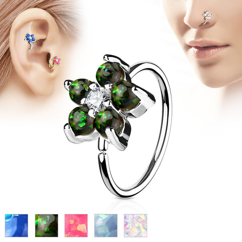 Opal Glitter Set Flower Petals CZ Center 316L Surgical Steel Hoop Ring for Nose & Ear Cartilage