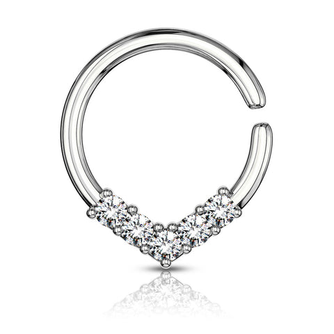 5 CZ Set V Shaped on Round Bendable Cut Ring for Cartilage, Tragus, Septum, and More