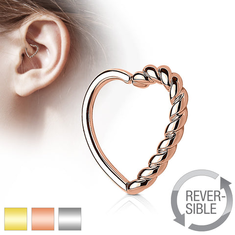 Half Braided Heart 16 Gauge Ear Cartilage/Daith Hoop Ring