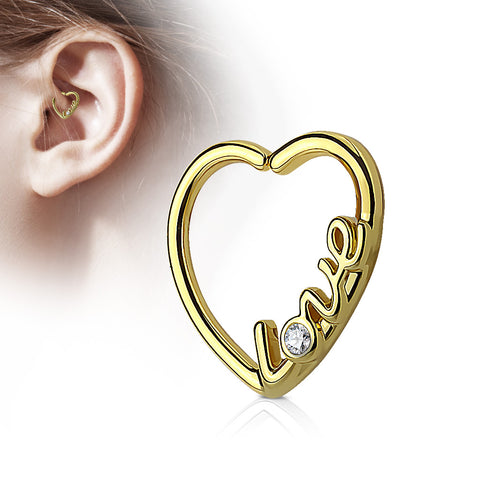 """Love"" Heart 16 Gauge Ear Cartilage/Daith Hoop Rings"