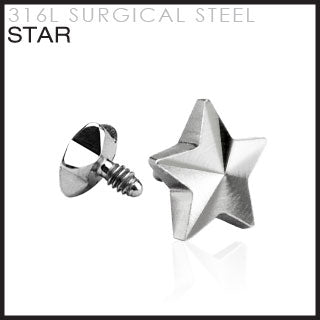 Star for Internally Threaded Dermal Anchors 316L Surgical Steel. Fits into our Dermal Anchors