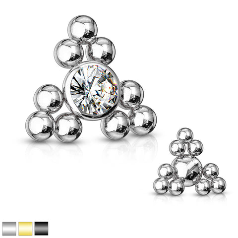 CZ Center Triangle Ball Clusters Internally Threaded 316L Surgical Steel Dermal Top