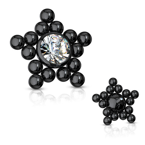 CZ Center Ball Clusters Star Internally Threaded 316L Surgical Steel Dermal Top