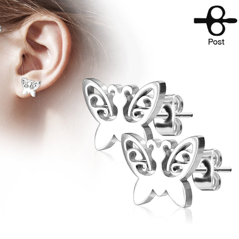 Butterfly 316L Stainless Steel Earring Studs Pair
