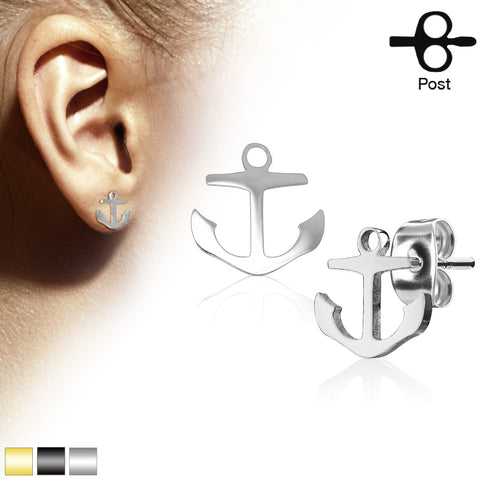 Pair of Hand Polished Anchor 316L Stainless Steel Earring Studs