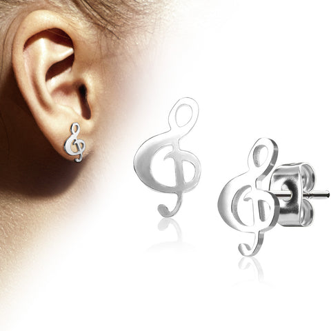 Pair of Hand Polished Music Clef 316L Stainless Steel Earring Studs