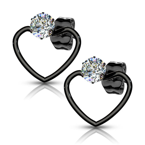 Pair of Round Clear CZ with Heart Hoop 316L Stainless Steel Stud Earrings