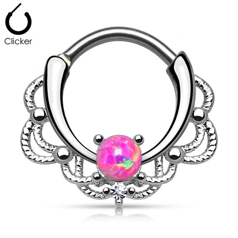 Lacey Single Opal Septum Clicker