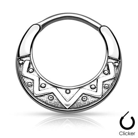 Tribal Fan Design Round 316L Surgical Steel Septum Clicker