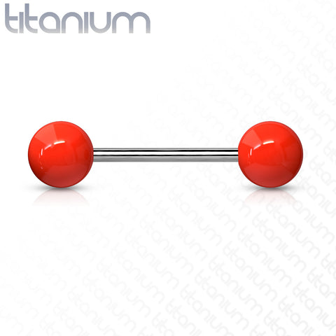Solid Colored Acrylic Ball Grade 23 Solid Titanium Barbell