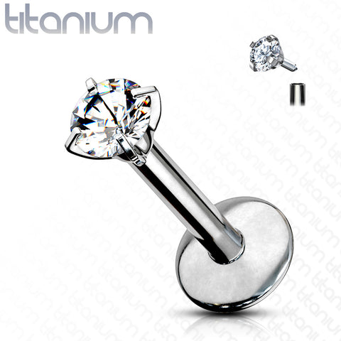 Prong Set Round Clear Gem Top Grade 23 Solid Titanium Internally Threaded Monroe Labret