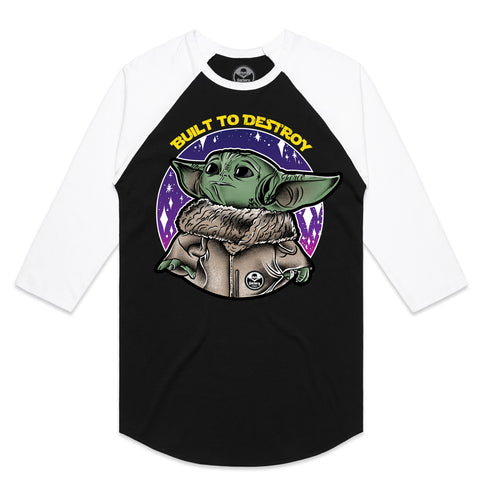 Factory Edge Womens Baby Yoda Raglan Black/White