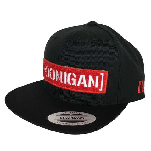 Hoonigan Mens Letterman Snapback Hat Black/Red