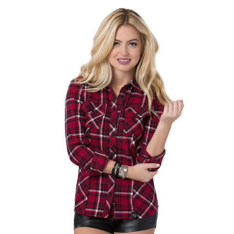 Metal Mulisha Womens Genevieve Flannel Dark Red