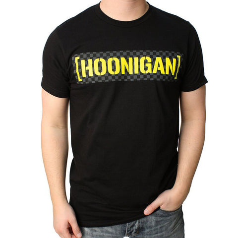 Hoonigan Mens Checkered Censorbar T Shirt Black