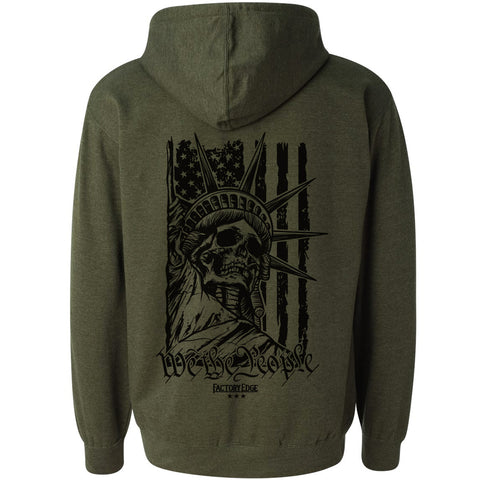 Factory Edge Mens Liberty Pull Over Hoody Army Heather