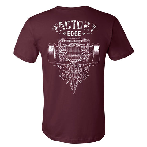 Factory Edge Mens Ratrod T Shirt Maroon