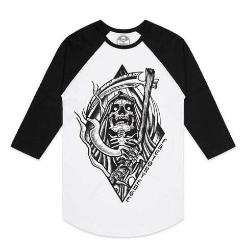 Factory Edge Mens Reaper Raglan T Shirt White/Black