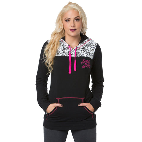 Metal Mulisha Womens Shot Of Love Pull Over Hoodie Black