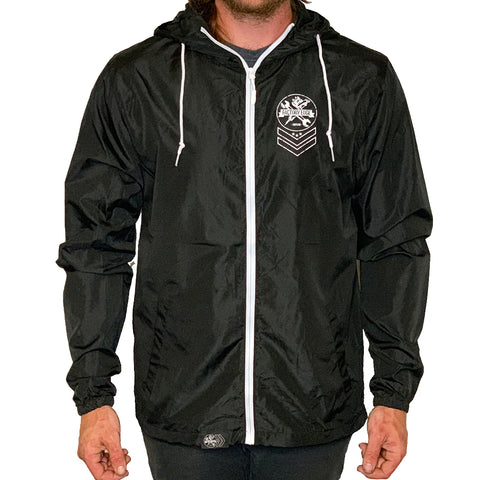 Factory Edge Mens Chevron Windbreaker Zip Black/White
