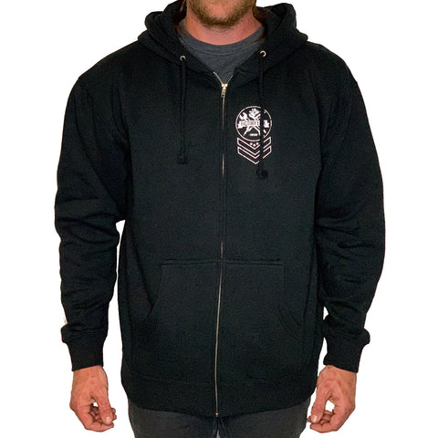 Factory Edge Mens Chevron Fleece Zip Hoodie Black