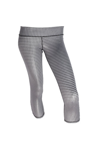 Gray Houndstooth Long Luxe Capri