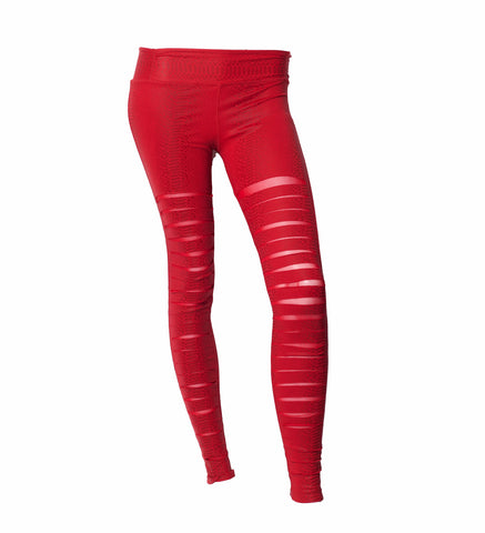 Red Snakeskin Slashed Legging