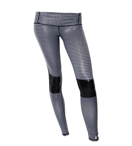 Gray Houndstooth Moto Legging