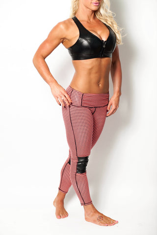 Coral Houndstooth Moto Leggings