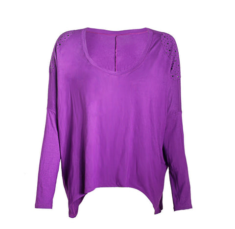 Purple Shoulder Patch Top