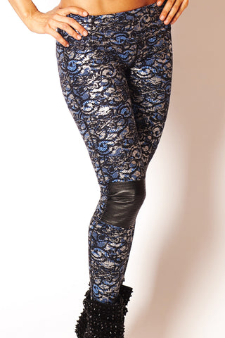 Blue Lace/Silver Moto Legging