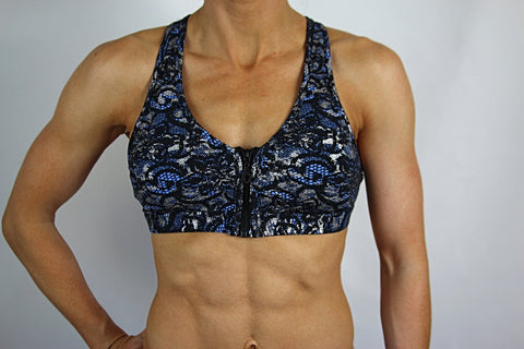 Blue Lace/Silver Zip 'em Up Bra