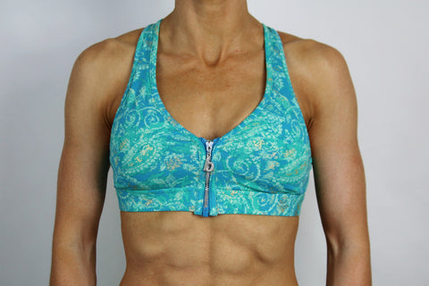 Teal Paisley Zip 'em Up Bra