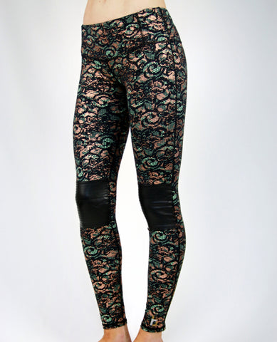Mint lace/Gold Moto Legging