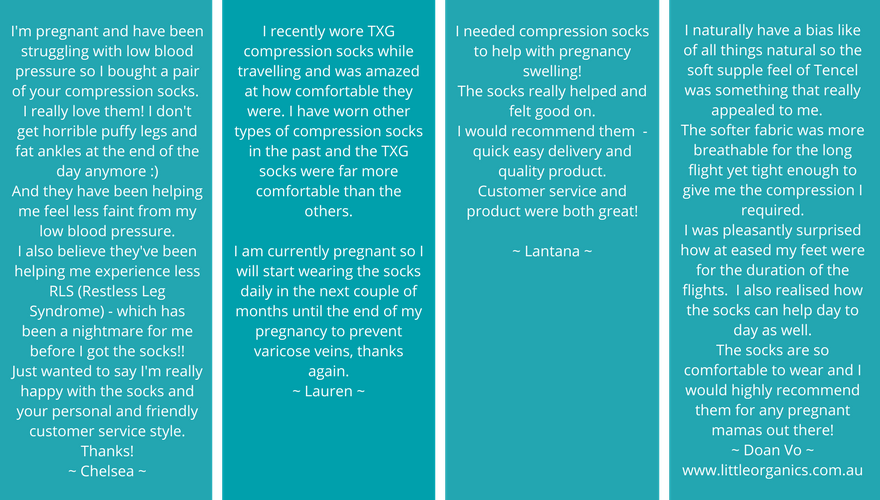 What our customers are saying about their TXG compression stockings for pregnancy