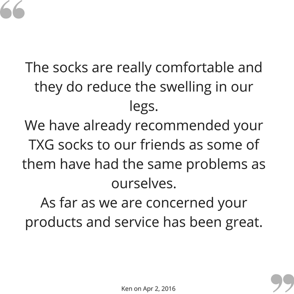 Ken's feedback on his TXG diabetic compression socks