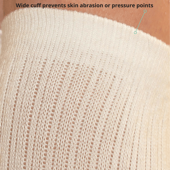 TXG diabetic compression socks have a wide cuff which prevents pressure points